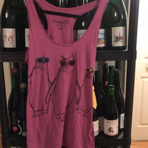 Forever 21 Tops - Forever 21 penguin with sunglasses razor back tank